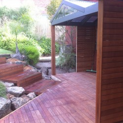 Timber Deck, steps, feature wall